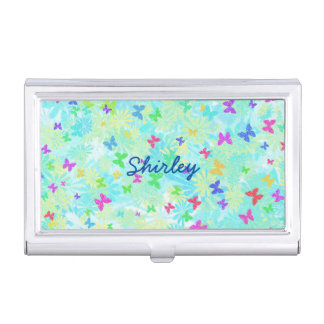 Colorful Butterflies and Daisies by Shirley Taylor Business Card Holder