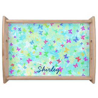 Colorful Butterflies and Daisies by Shirley Taylor Serving Tray