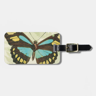 Colorful Butterflies and Fern Leaves Luggage Tag