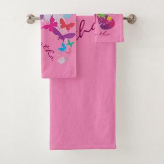 Colorful Butterflies Bath Towel Set