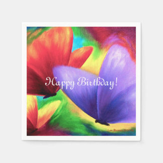 Colorful Butterflies On Cocktail Paper Napkins