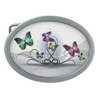 Colorful Butterflies Oval Belt Buckle