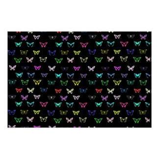 Colorful butterflies pattern on black poster