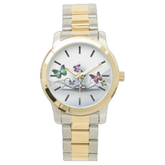 Colorful Butterflies Two-Tone Watch