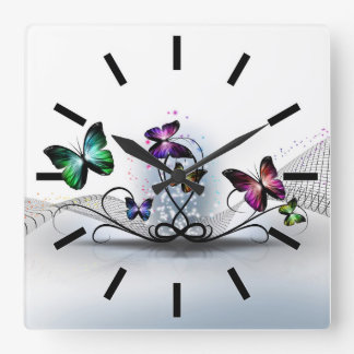 Colorful Butterflies Wall Clock