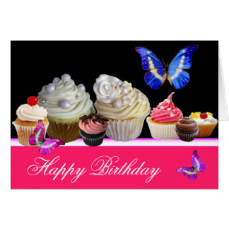 COLORFUL BUTTERFLIES YUMMY CUPCAKES BIRTHDAY PARTY GREETING CARD