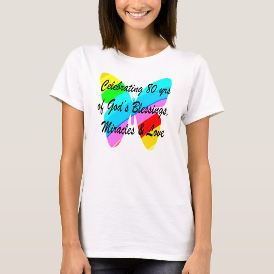 COLORFUL BUTTERFLY 80TH BIRTHDAY T-Shirt