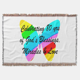 COLORFUL BUTTERFLY 80TH BIRTHDAY THROW BLANKET