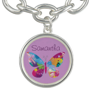 Colorful Butterfly Butterfly Design Charm Bracelet