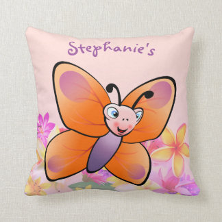 Colorful Butterfly Cartoon With A Cute Smile Cushion