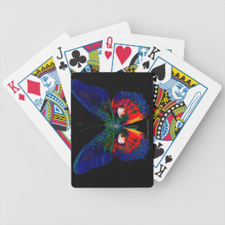 Colorful Butterfly design against black backdrop 2 Bicycle Playing Cards