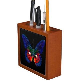 Colorful Butterfly design against black backdrop 2 Desk Organiser