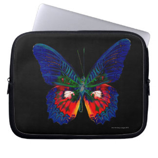 Colorful Butterfly design against black backdrop 2 Laptop Sleeve