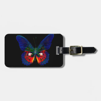 Colorful Butterfly design against black backdrop 2 Luggage Tag