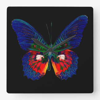 Colorful Butterfly design against black backdrop 2 Square Wall Clock