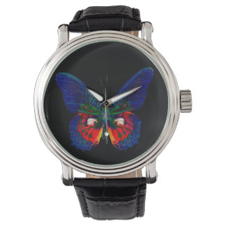 Colorful Butterfly design against black backdrop 2 Watch