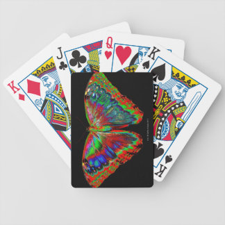 Colorful Butterfly design against black backdrop 3 Bicycle Playing Cards