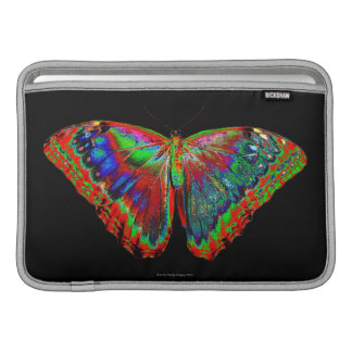 Colorful Butterfly design against black backdrop 3 MacBook Sleeve