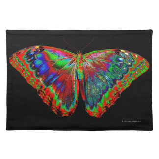 Colorful Butterfly design against black backdrop 3 Placemat