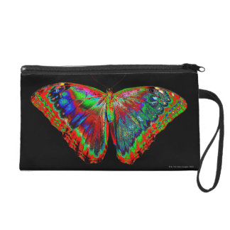 Colorful Butterfly design against black backdrop 3 Wristlet