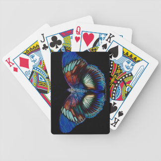 Colorful Butterfly design against black backdrop Bicycle Playing Cards