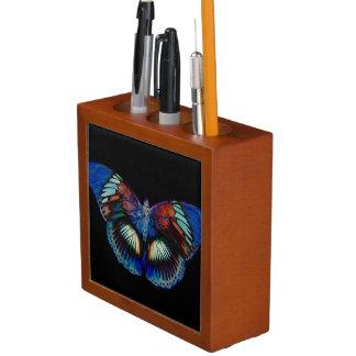 Colorful Butterfly design against black backdrop Desk Organiser