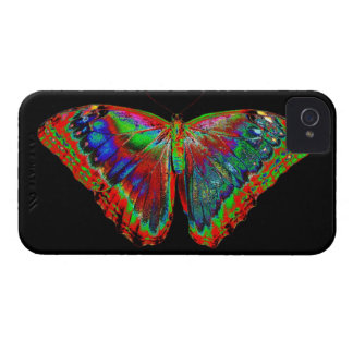 Colorful Butterfly design against black backdrop iPhone 4 Case-Mate Cases