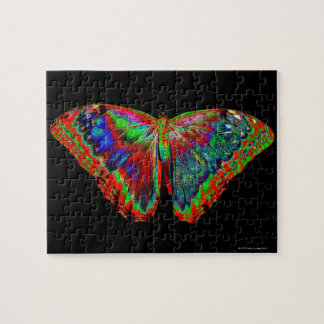 Colorful Butterfly design against black backdrop Jigsaw Puzzle