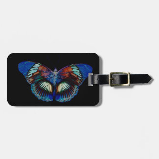 Colorful Butterfly design against black backdrop Luggage Tag
