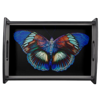 Colorful Butterfly design against black backdrop Serving Tray