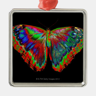 Colorful Butterfly design against black backdrop Silver-Colored Square Decoration
