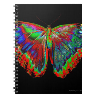 Colorful Butterfly design against black backdrop Spiral Notebook