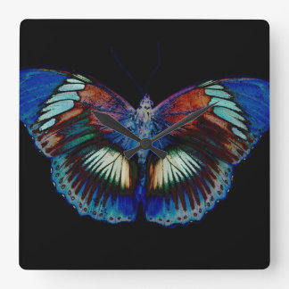 Colorful Butterfly design against black backdrop Square Wall Clock