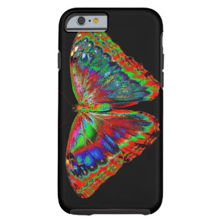 Colorful Butterfly design against black backdrop Tough iPhone 6 Case