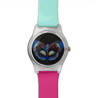 Colorful Butterfly design against black backdrop Watch