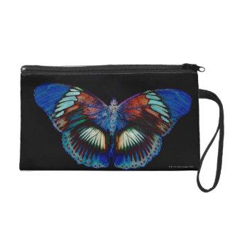 Colorful Butterfly design against black backdrop Wristlet