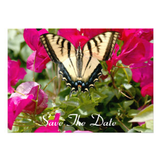 Colorful Butterfly Flowers Save The Date invite