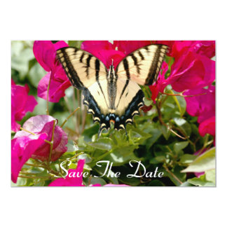 "Colorful Butterfly & Flowers, Save The Date invite 5"" X 7"" Invitation Card"