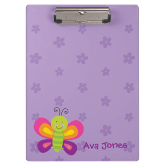 Colorful Butterfly Personalized Clipboard