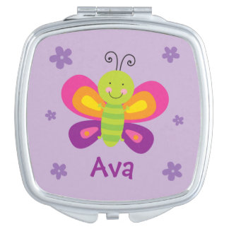 Colorful Butterfly Personalized Compact Mirror