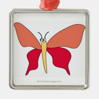 Colorful Butterfly Silver-Colored Square Decoration