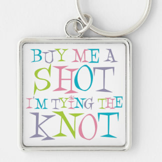 Colorful Buy Me A Shot Silver-Colored Square Key Ring