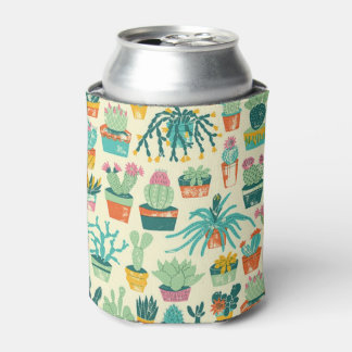 Colorful Cactus Flower Pattern Can Cooler