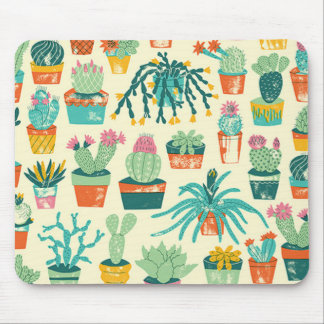 Colorful Cactus Flower Pattern Mouse Pad
