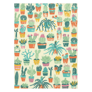 Colorful Cactus Flower Pattern Tablecloth