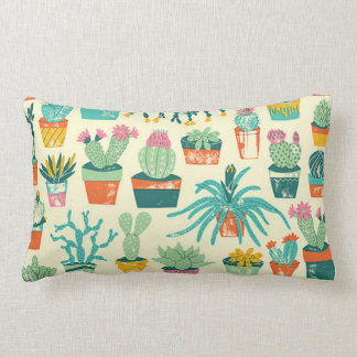 Colorful Cactus Flower Pattern Throw Pillow Throw Cushion