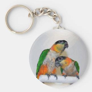 Colorful Caique Parrot Pair Keychain