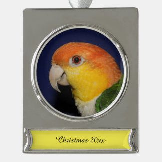 Colorful Caique Parrot Silver Plated Banner Ornament