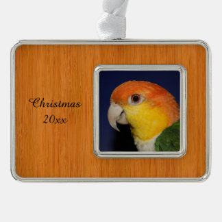 Colorful Caique Parrot Silver Plated Framed Ornament