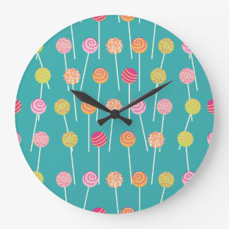 Colorful Cake Pops on Teal Pattern Large Clock